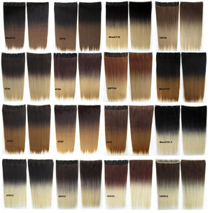 "Dip dye hairpieces New Fashion 24"" Women Clip in on gradient wig Bath & Beauty Hair Ombre Hair Extensions Two Tone Straight hair Gradient Hair Extension Colorful Hairpieces GS-666 Black T24,1PCS"
