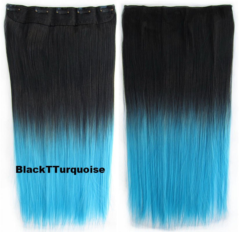 Dip dye hairpieces new fashion 24 women clip in on gradient wig gradient wig bath beauty hair ombre hair extensions two tone straight hair gradient hair extension colorful hairpieces gs 666 black t turquoise 1pcs pmusecretfo Images