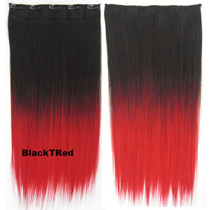 "Dip dye hairpieces New Fashion 24"" Women Clip in on gradient wig Bath & Beauty Hair Ombre Hair Extensions Two Tone Straight hair Gradient Hair Extension Colorful Hairpieces GS-666 Black T Red,1PCS"