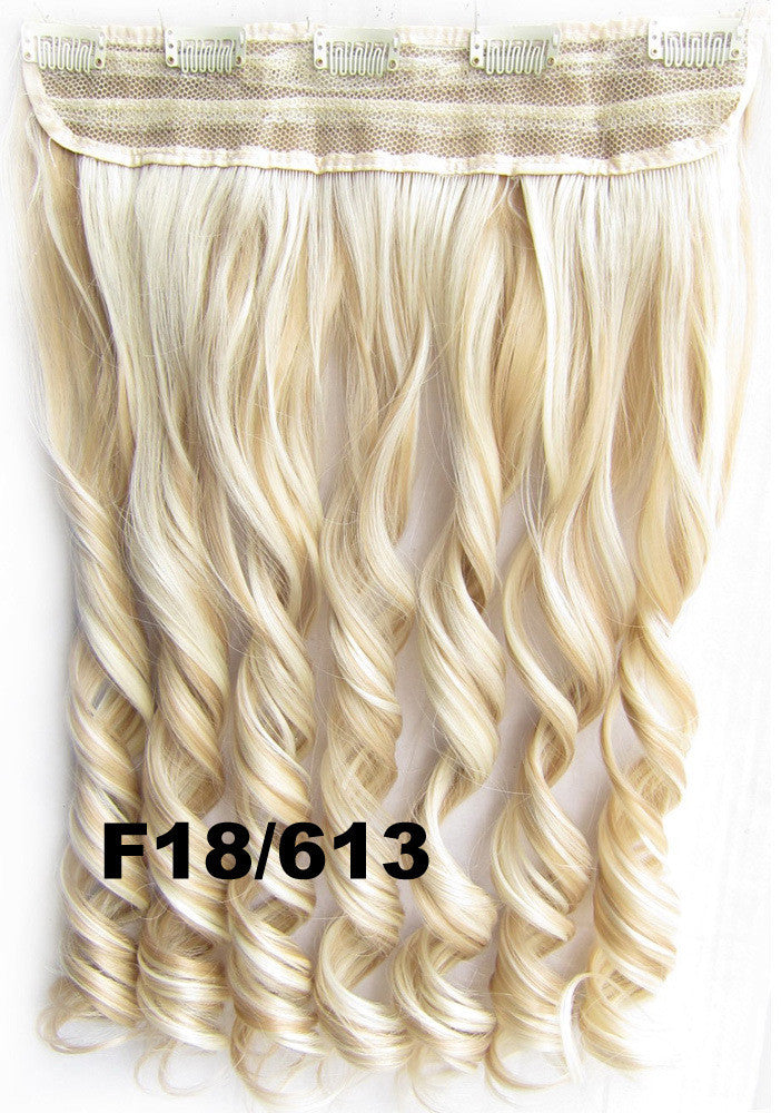 Clip in synthetic hair extension hairpieces 5 clips in on wavy slice hairpiece GS-888 F18/613,60cm,130grams,16 colors available 1pcs