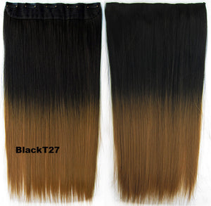 "Dip dye hairpieces New Fashion 24"" Women Clip in on gradient wig Bath & Beauty Hair Ombre Hair Extensions Two Tone Straight hair Gradient Hair Extension Colorful Hairpieces GS-666 Black T27,1PCS"