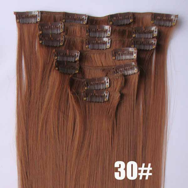 30# Bath&Beauty clip in synthetic hair extensions 7pcs/set,90grams hairpieces clip in hair 7pcs Straight hair,curly hairpiece,Hair Care,fashion COSPLAY ombre 1PCS