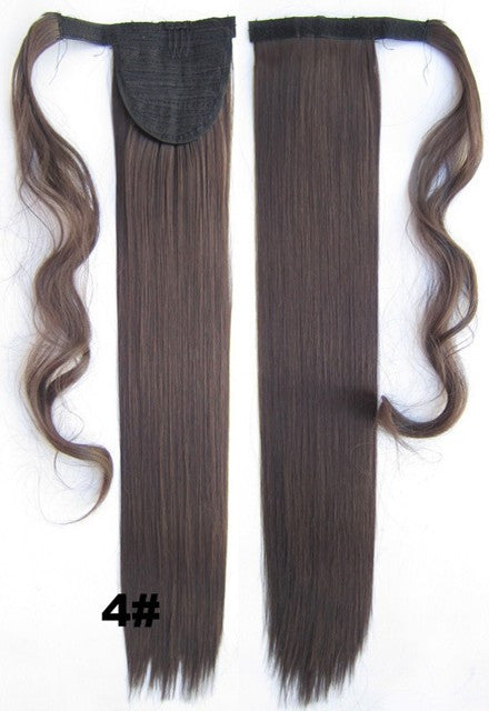 Velcro Wrap Ponytail Hair Extension,Ponytail with band,Ribbon Ponytail,Straight hair,Wig Hairpiece,synthetic hair wig,woman wigs,wig hairs,Bath & Beauty,Accessories BIP-666 4#