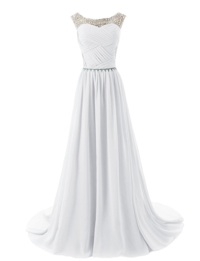 2015 Evening Dresses A Line Sleeveless Floor length Dress star Chiffon Zipper Up dress Long Bridesmaid Dress Beading Ball Gown-white 142214124 SD184