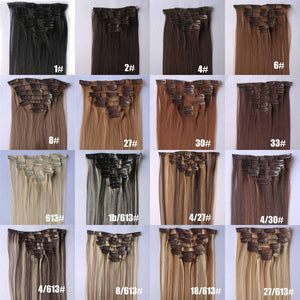33# Bath&Beauty clip in synthetic hair extensions 7pcs/set,90grams hairpieces clip in hair 7pcs Straight hair,curly hairpiece,Hair Care,fashion COSPLAY ombre 1PCS