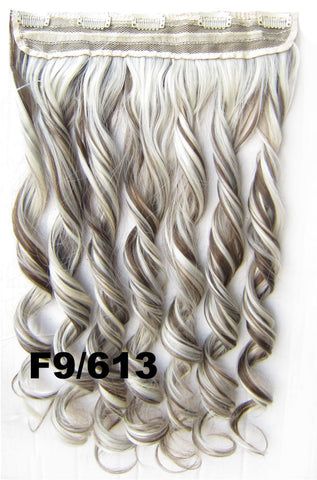 Clip in synthetic hair extension hairpieces 5 clips in on wavy slice hairpiece GS-888 F9/613,60cm,130grams,16 colors available 1pcs