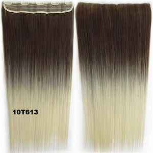 "Dip dye hairpieces New Fashion 24"" Women Clip in on gradient wig Bath & Beauty Hair Ombre Hair Extensions Two Tone Straight hair Gradient Hair Extension Colorful Hairpieces GS-666 10T613,1PCS"