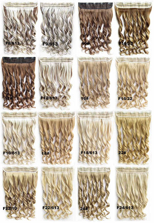 Clip in synthetic hair extension hairpieces 5 clips in on wavy slice hairpiece GS-888 F16/613,60cm,130grams,16 colors available 1pcs