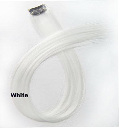 "1 pcs 22"" Straight Hair Price,White New Highlight Straight Ombre Colorful Candy Colored Colorful single Clip On In synthetic Hair Extension Hair piece"