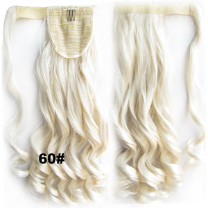 Ponytail Hair Extension Heat Proof Synthetic Wrap Around Invisable Long wavy Velcro Ponytail Hair Extension Clip In on Hair Pony Tail,Wig Hairpiece,woman wigs,wig hairs,Bath & Beauty,Accessories BIP-888 60#