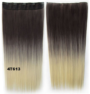 "Dip dye hairpieces New Fashion 24"" Women Clip in on gradient wig Bath & Beauty Hair Ombre Hair Extensions Two Tone Straight hair Gradient Hair Extension Colorful Hairpieces GS-666 4T613,1PCS"