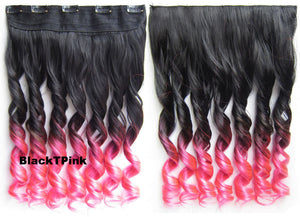 "Dip dye hairpieces New Fashion 24"" Women Clip in on gradient wig Bath & Beauty Hair Ombre Hair Extensions Two Tone Curly Hair Gradient Hair Extension Colorful Hairpieces GS-888 Black T Pink,1PCS"