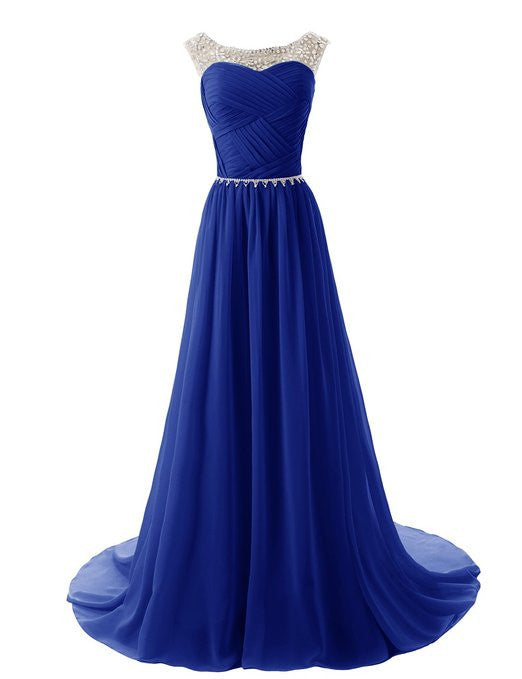 2015 Evening Dresses A Line Sleeveless Floor length Dress star Chiffon Zipper Up dress Long Bridesmaid Dress Beading Ball Gown-Navy Blue 142214124 SD184