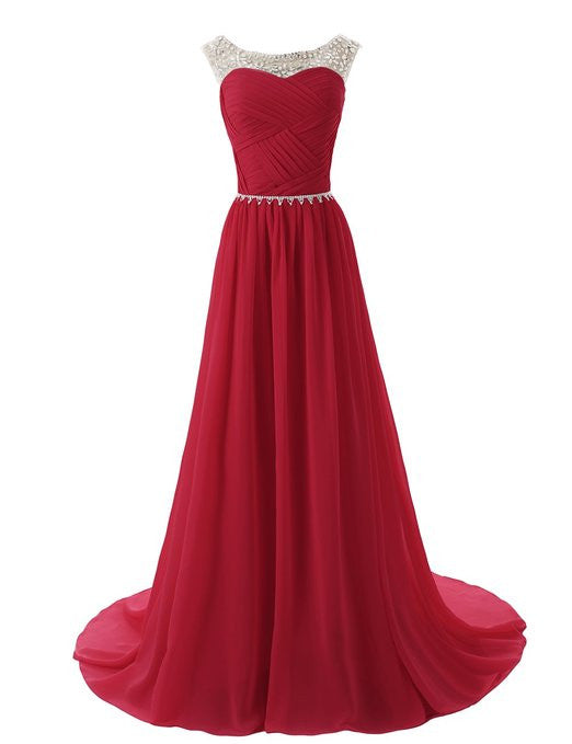 2015 Evening Dresses A Line Sleeveless Floor length Dress star Chiffon Zipper Up dress Long Bridesmaid Dress Beading Ball Gown-Dark red 142214124 SD184