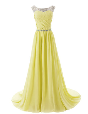 2015 Evening Dresses A Line Sleeveless Floor length Dress star Chiffon Zipper Up dress Long Bridesmaid Dress Beading Ball Gown-Yellow 142214124 SD184