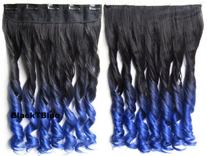 "Dip dye hairpieces New Fashion 24"" Women Clip in on gradient wig Bath & Beauty Hair Ombre Hair Extensions Two Tone Curly Hair Gradient Hair Extension Colorful Hairpieces GS-888 BlackTBlue,1PCS"