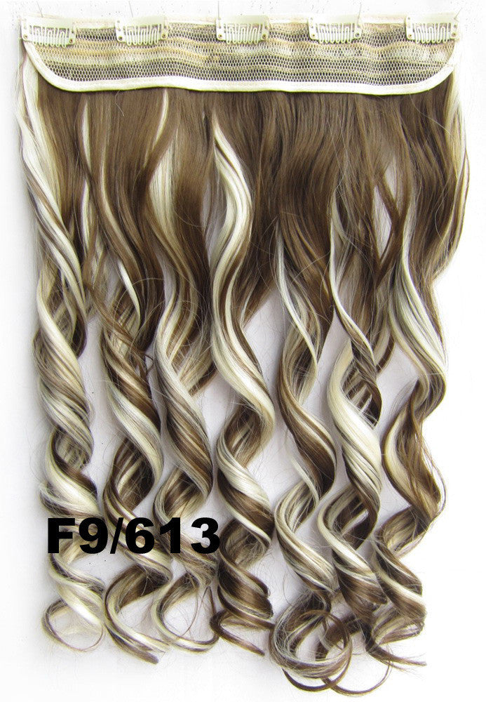 Women Classic Fashion Lady Long Curly Wavy Hair Full Cosplay Party Wigs 5 clips in wig synthetic hair extension hairpieces wavy slice hairpiece GS-888 F9/613, 60cm,130grams