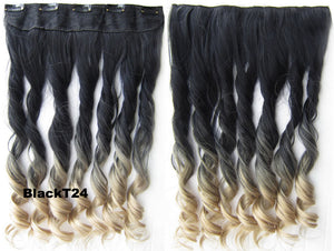 "Dip dye hairpieces New Fashion 24"" Women Clip in on gradient wig Bath & Beauty Hair Ombre Hair Extensions Two Tone Curly Hair Gradient Hair Extension Colorful Hairpieces GS-888 BlackT24,1PCS"