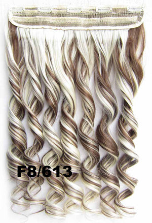 Clip in synthetic hair extension hairpieces 5 clips in on wavy slice hairpiece GS-888 F8/613,60cm,130grams,16 colors available 1pcs