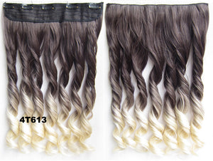 "16 Colors Dip dye hairpieces New Fashion 24"" Women Clip in on gradient wig Bath & Beauty Hair Ombre Hair Extensions Two Tone Curly Hair Gradient Hair Extension Colorful Hairpieces GS-888,1PCS"