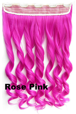 Rose Pink Ombre Colorful Candy 5 Clip in Hair Extensions 1Weft=5pcs Body Wave Texture Hair Synthetic Hair Extension High Quality Wig