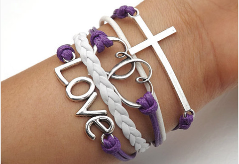 Anchor arrow Cross Heart Love telesthesia Bracelet,Bracelets,Hipsters jewelry,Bracelet,braided bracelet,Couples bracelet,lover bracelets,bangle bracelet,,leather bracelet,charm bracelet,Purple wax rope White braided bracelet