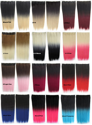 "Dip dye hairpieces New Fashion 24"" Women Clip in on gradient wig Bath & Beauty Hair Ombre Hair Extensions Two Tone Straight hair Gradient Hair Extension Colorful Hairpieces GS-666 Black T Light Pink,1PCS"