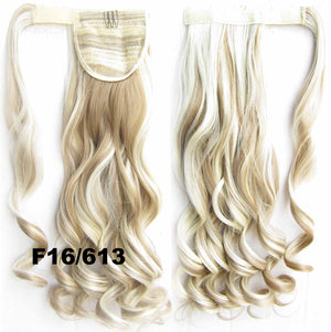 Ponytail Hair Extension Heat Proof Synthetic Wrap Around Invisable Long wavy Velcro Ponytail Hair Extension Clip In on Hair Pony Tail,Wig Hairpiece,woman wigs,wig hairs,Bath & Beauty,Accessories BIP-888 F16/613