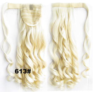 16 Colors Ponytail Hair Extension Heat Proof Synthetic Wrap Around Invisable Long wavy Velcro Ponytail Hair Extension Clip In on Hair Pony Tail,Wig Hairpiece,woman wigs,wig hairs,Bath & Beauty,Accessories BIP-888,1pcs