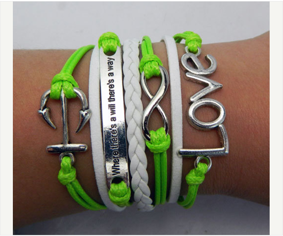 Peace Where there's a will there's a way anchor infinity Love telesthesia Bracelet,Bracelets,Hipsters jewelry,Bracelet,braided bracelet,Couples bracelet,lover bracelets,bangle bracelet,,leather bracelet,charm bracelet,apple green Inspirational Bracelet