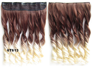"Dip dye hairpieces New Fashion 24"" Women Clip in on gradient wig Bath & Beauty Hair Ombre Hair Extensions Two Tone Curly Hair Gradient Hair Extension Colorful Hairpieces GS-888 6T613,1PCS"