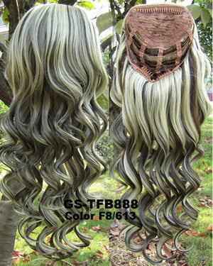 "10 Colors HOT 3/4 Half Long Curly Wavy Wig Heat Resistant Synthetic Wig Hair 200g 24"" Highlighted Curly Wig Hairpieces with Comb Wig Hair GS-TFB888 1PCS"