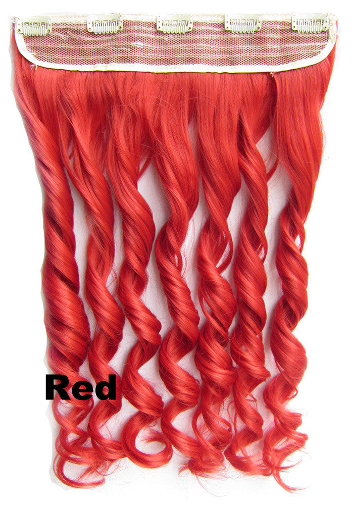 Red Ombre Colorful Candy 5 Clip in Hair Extensions 1Weft=5pcs Body Wave Texture Hair Synthetic Hair Extension High Quality Wig