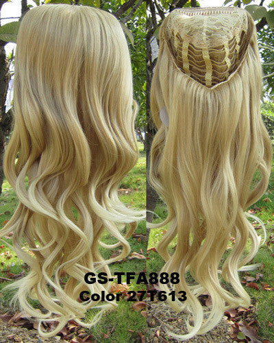 "HOT 3/4 Half Long Curly Wavy Wig Heat Resistant Synthetic Wig Hair 200g 24"" Highlighted Curly Wig Hairpieces with Comb Wig Hair GS-TFA888 27T613"