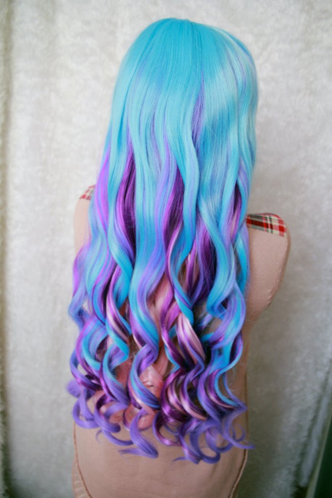 80cm Long Women Blue Mix Color Wig Curly Weave Anime Cosplay Wigs