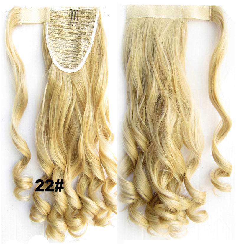 Ponytail Hair Extension Heat Proof Synthetic Wrap Around Invisable Long wavy Velcro Ponytail Hair Extension Clip In on Hair Pony Tail,Wig Hairpiece,woman wigs,wig hairs,Bath & Beauty,Accessories BIP-888 22#