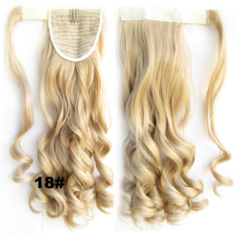 Ponytail Hair Extension Heat Proof Synthetic Wrap Around Invisable Long wavy Velcro Ponytail Hair Extension Clip In on Hair Pony Tail,Wig Hairpiece,woman wigs,wig hairs,Bath & Beauty,Accessories BIP-888 18#