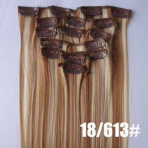 18/613# Bath&Beauty clip in synthetic hair extensions 7pcs/set,90grams hairpieces clip in hair 7pcs Straight hair,curly hairpiece,Hair Care,fashion COSPLAY ombre 1PCS