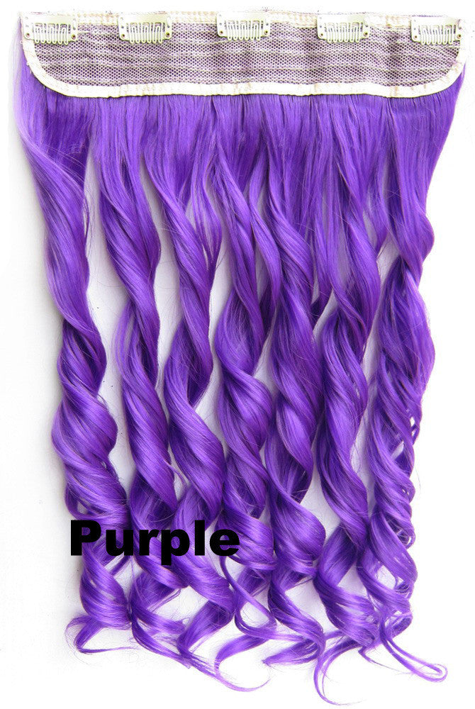 Purple Ombre Colorful Candy 5 Clip in Hair Extensions 1Weft=5pcs Body Wave Texture Hair Synthetic Hair Extension High Quality Wig