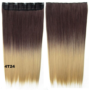 "Dip dye hairpieces New Fashion 24"" Women Clip in on gradient wig Bath & Beauty Hair Ombre Hair Extensions Two Tone Straight hair Gradient Hair Extension Colorful Hairpieces GS-666 4T24,1PCS"