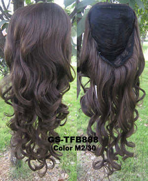 "HOT 3/4 Half Long Curly Wavy Wig Heat Resistant Synthetic Wig Hair 200g 24"" Highlighted Curly Wig Hairpieces with Comb Wig Hair GS-TFB888 M2/30"