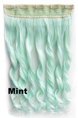 Mint Ombre Colorful Candy 5 Clip in Hair Extensions 1Weft=5pcs Body Wave Texture Hair Synthetic Hair Extension High Quality Wig