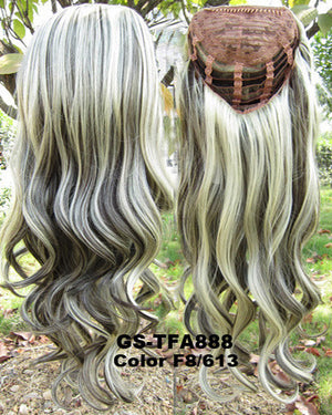 "HOT 3/4 Half Long Curly Wavy Wig Heat Resistant Synthetic Wig Hair 200g 24"" Highlighted Curly Wig Hairpieces with Comb Wig Hair GS-TFA888 F8/613"