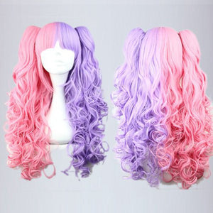 Cotton candy wig 70cm/60cm Long Pink And Purple cosplay wig Mixed Beautiful wig Anime Wig,Colorful Candy Colored synthetic Hair Extension Hair piece 1pcs WIG-219A