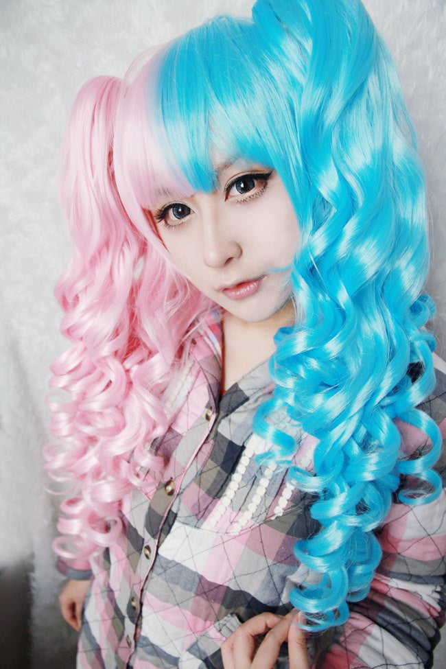 Cotton candy wig 70cm 60cm Long Pink and Blue Mixed Kawaill lolita fashion  Beautiful wig cosplay Anime Wig 73e410cc6