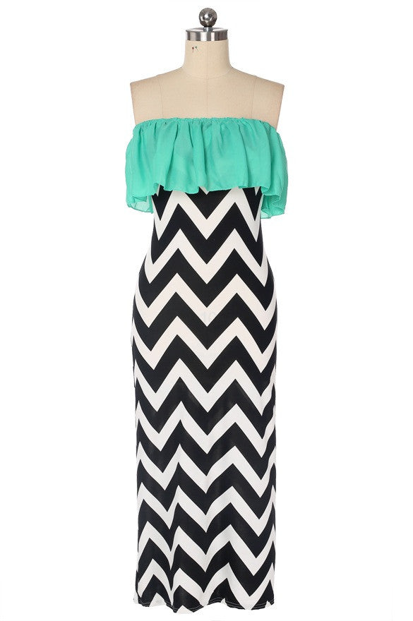 Chevron Maxi Dress Mint Summer Style 2015 Strapless Wave Stripe Print Women Summer Dress Casual Sleeveless Chiffon Beach Long Maxi Dress