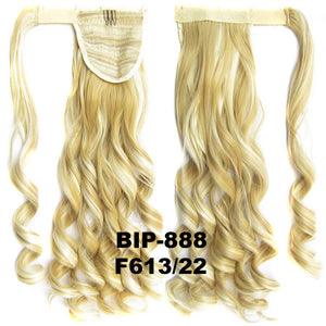Ponytail Hair Extension Heat Proof Synthetic Wrap Around Invisable Long wavy Velcro Ponytail Hair Extension Clip In on Hair Pony Tail,Wig Hairpiece,woman wigs,wig hairs,Bath & Beauty,Accessories BIP-888 F613/22