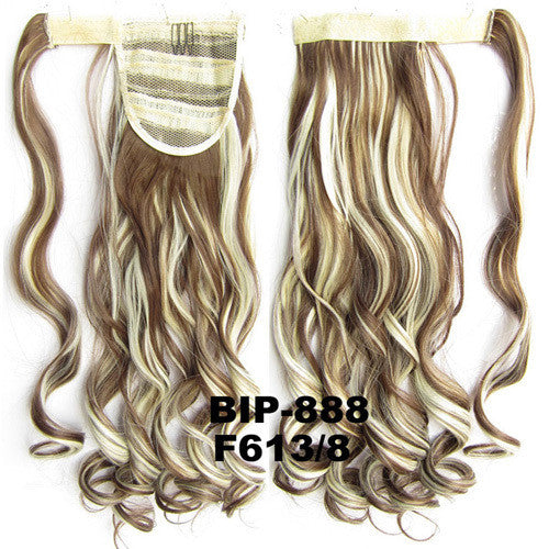 Ponytail Hair Extension Heat Proof Synthetic Wrap Around Invisable Long wavy Velcro Ponytail Hair Extension Clip In on Hair Pony Tail,Wig Hairpiece,woman wigs,wig hairs,Bath & Beauty,Accessories BIP-888 F613/8