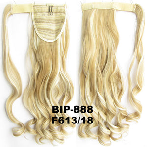Ponytail Hair Extension Heat Proof Synthetic Wrap Around Invisable Long wavy Velcro Ponytail Hair Extension Clip In on Hair Pony Tail,Wig Hairpiece,woman wigs,wig hairs,Bath & Beauty,Accessories BIP-888 F613/18