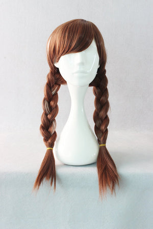 Famous Style Brown Color Mixed Two Braided 70CM Long Anime Cosplay Frozen Anna Wig,Colorful Candy Colored synthetic Hair Extension Hair piece 1pcs WIG-016A